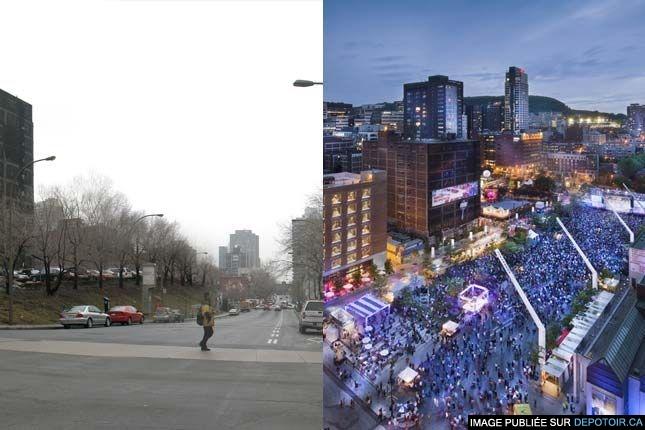 Place des festivals. Avant & après