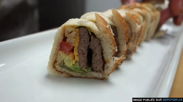 A master sushi chef makes a roll out of a Big Mac