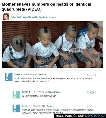 Mother shaves numbers on heads of identical quadruplets