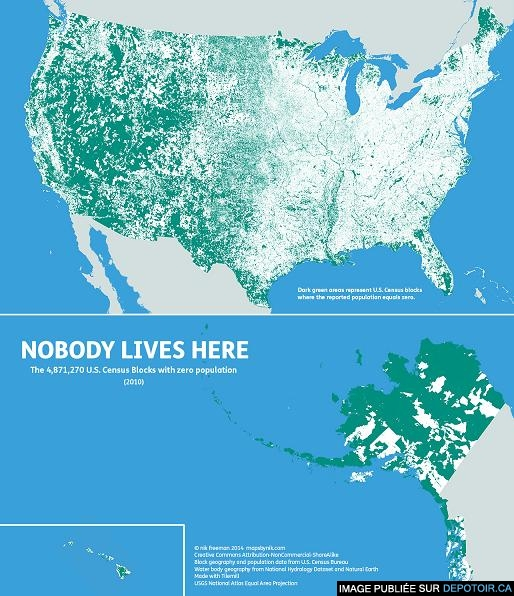 Us Map where No One lives